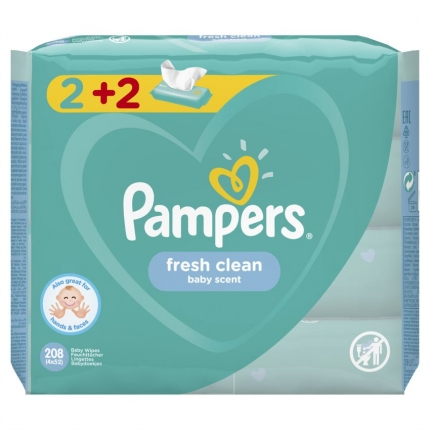 PAMPERS WIPES FRESH CLEAN 3X4X52 (2+2)