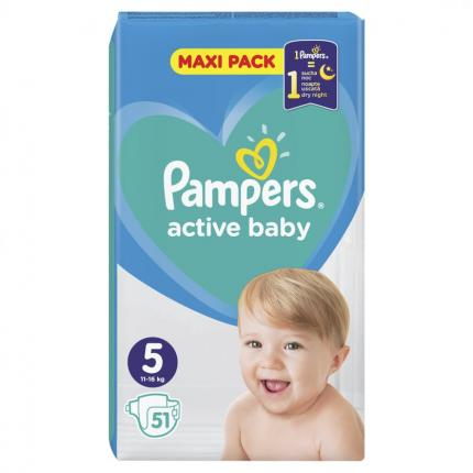 PAMPERS ACTIVE BABY MAXI ΜΕΓ 5 (11-16 kg), 51 ΠΑΝΕΣ