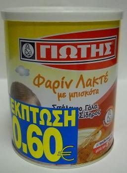 ΦΑΡΙΝ ΛΑΚΤΕ ΜΠΙΣΚΟΤΟ -0,60€ 300ΓΡ 12ΤΜΧ ΓΙΩΤΗ