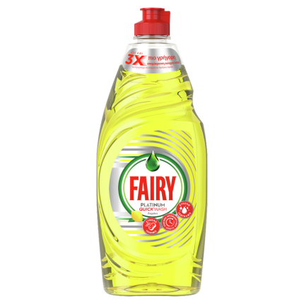 Fairy Platinum Quickwash Λεμόνι Υγρό Πιάτων Με Γρήγορη Δράση - 654 ml